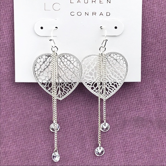 LC Lauren Conrad Jewelry - LC Lauren Conrad Heart Filigree Drop Earrings